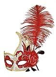 erdbeerclown- Damen Kostümzubehör: Venezianische Maske mit Feder+Blume, Rot