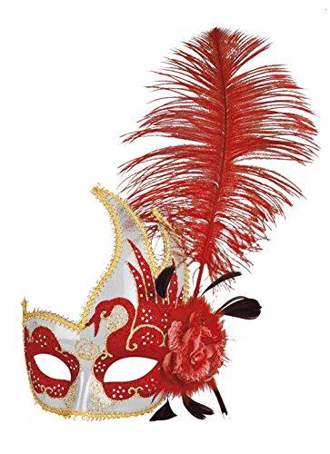 erdbeerclown- Damen Kostümzubehör: Venezianische Maske mit Feder+Blume, Rot (Schweine Ohren Und Nase Kostüm)
