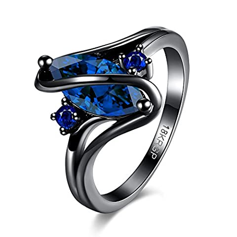 Eternity Love Wedding Bands Women's 18K Black Gold Plated Rings Princess Cut Blue/Green/Purple CZ Crystal Engagement Rings Best Promise Rings Anniversary Wedding Rings, JPR868-Blue-8-UK