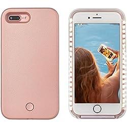iPhone 8 plus LED Coque - Avkkey iPhone 8 plus Selfie Light iPhone Coque Idéal pour prises de Selfie et FaceTime lumineux Light Up Coque pour iPhone 7 plus 5.5'' - Or rose