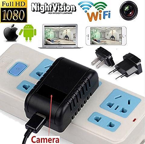 Electro-Weideworld Caméra Espion Cachée Chargeur Wifi IP Caméra Wireless Sécurité Moniteur Cam surveillance Caméra de Sécurité sans fil pour