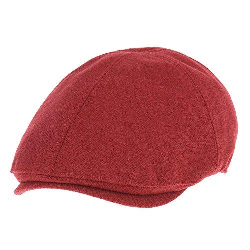 WITHMOONS Schlägermütze Golfermütze Schiebermütze Wool Newsboy Hat Flat Cap SL3021 (Red) (Cap Red Newsboy)