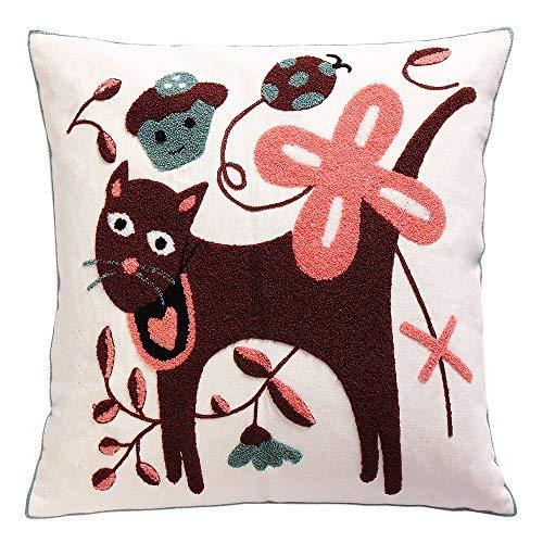 Generic Dekorativer Überwurf-Kissenbezug Bestickt Kissenbezug, Quadratisch 100% Baumwolle Cat Muster 45,7x 45,7cm Home Decor (Kissen-abdeckungen Throw Mexikanische)