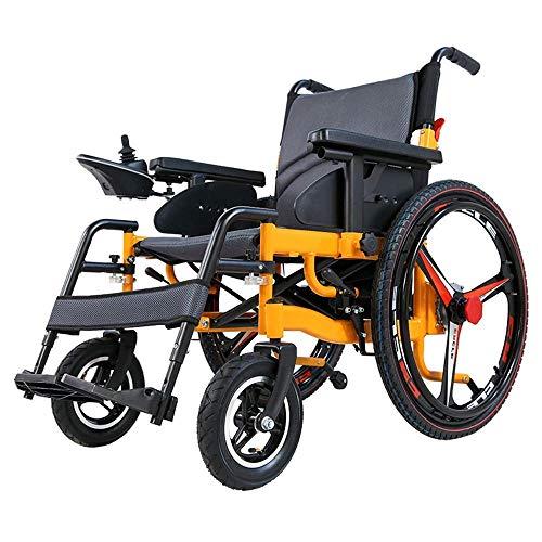XGLL Sillas de Ruedas eléctrica Ligera Plegable para Mayores discapacitados, batería de Litio de 20A 24V, Motor Dual de 250W,...