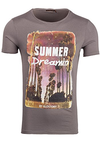 GLO STORY Herren T-shirt Figurbetont Kurzarm NEW! 7478 Dunkelgrau