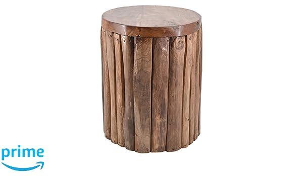 Moycor 163052 sgabello in legno tek con tronchi verticali