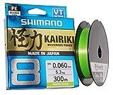 SHIMANO Kairiki 8, 300 Meter, Mantis Grün, 0.280mm/29.3kg, 8fach Geflochtene Angelschnur,...