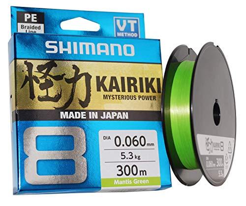 SHIMANO Kairiki 8, 300 Meter, Mantis Grün, 0.200mm/17.1kg, 8fach Geflochtene Angelschnur, 59WPLA68R05