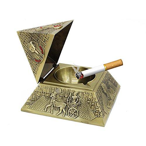 YJY^MAX Pyramide Aschenbecher mit Einem Deckel,Retro Zigarre Zigaretten Aschenbecher Carving Windaschenbecher Ascher Aufbewahrungsbeutel Home Decor Geschenk Bar für Männer Raucher Antiquität