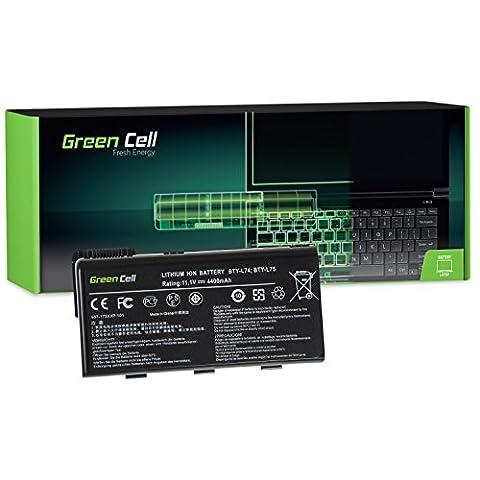 Green Cell® Standard Série BTY-L74 BTY-L75 Batterie pour MSI CR500 CR600 CR610 CR620 CR630 CR700 CR720 CX500 CX600 CX605 CX620 CX700 GE700 A6000 A6200 Ordinateur PC Portable (6 Cellules 4400mAh 11.1V Noir)