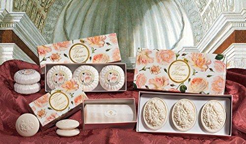 Rosenseife, oval 3 St je 125g, handgemachte italienische Seife aus Fiorentino, mit dekorativer Prägung, ideal als Geschenk