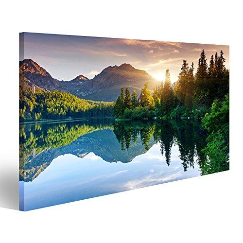 islandburner Bild Bilder auf Leinwand Bergsee im Nationalpark Hohe Tatra Strbske pleso, Slowakei, Europa Schönheit Welt Verschiedene Formate ! Direkt vom Hersteller ! Bilder ! Wandbild Poster Leinwandbilder ! FOL