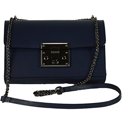 Tracolla Donna In Vera Pelle Colore Blu Scuro - Pelletteria Toscana Made In Italy - Borsa Donna
