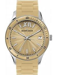 Jacques Lemans Rome Sports - Reloj analógico unisex de cuarzo con correa de silicona beige - sumergible a 100 metros