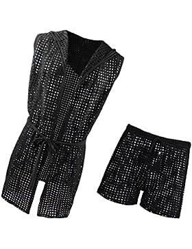 Magideal Albornoz Hueco con Capucha Cinturón Hombres Ropa de Dormir Negro Mesh Sports Shorts L