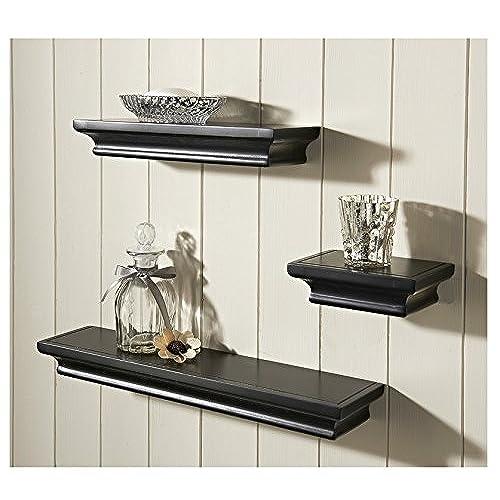 Wall Shelves For Living Room. Set of 3 Floating Shelves Wall Shelf Home Storage Black for Living Room  Amazon co uk