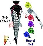 alles-meine.de GmbH 3-D Effekt _ BASTELSET Schultüte -  Fisch / Hai Happen  - 85 cm - incl. individueller Schleife - mit Holzspitze - Zuckertüte - Set zum selber Basteln - 6 ec..