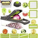 FUKTSYSM Mandolin Slicer - Newest Design Vegetable Chopper, 11 in 1 Mandoline Slicer Adjustable Vegetable Cutter, Vegetable Cutter with Julienne Grater Include Clean Brush and Glove