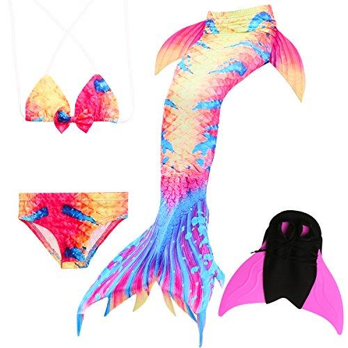 Für Einen Kostüm Jährigen 2 - Das beste Mädchen Bikini Badeanzüge Schönere Meerjungfrauenschwanz Zum Schwimmen mit Meerjungfrau Flosse Schwimmen Kostüm Schwanzflosse - Ein Mädchentraum- Gr. 130, Farbe: A08(2)