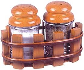 Lomoza Stylish Design Salt and Pepper Plastic Dispenser Set (Multicolour, SaltPepperOvalTasty)