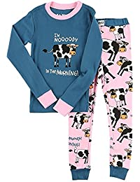 LazyOne Niñas Mooody Morning Niño Pijama Set Manga Larga