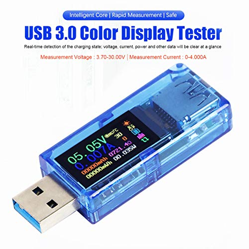 Innovateking-EU USB 3.0 Tester Multímetro 3.7-30V 0-4A USB Voltage Tester USB Digital Corriente y Voltaje Tester Medidor Voltímetro Amperímetro IPS Color Display Capacidad Power Charger Detector AT34