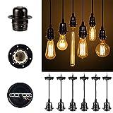 GreenSun Vintage Edison E27 Lampenfassung Antike Sockel Lampe Fassung Halter Zubehör mit 1.35 Meter 3-adriges Kabel Deckenfassung Lampenfuß für Pendelleuchte Hängelampe, 6 Stück, Q1