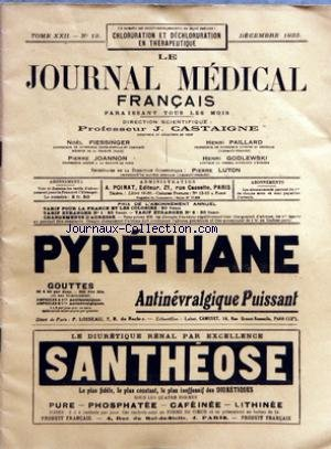 JOURNAL MEDICAL FRANCAIS (LE) [No 12] du 01/12/1933