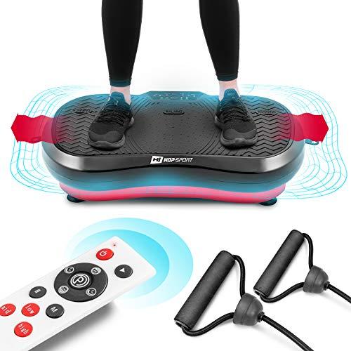 Hop-Sport Vibrationsplatte Vibrationstrainer mit Trainingsbändern Fernbedienung 99 Intensitätsstufen 3 Trainingszonen 11 Trainingsprogramme (HS-050VS)