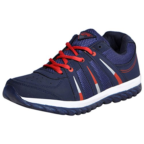 Lancer Men's Black Navy-Blue Red Synthetic Running Shoes (Indusnbl-Red-42) - (8 Uk)