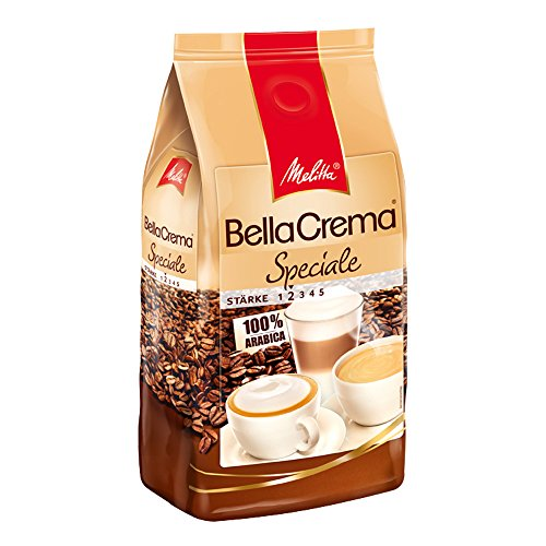 Melitta Ganze Kaffeebohnen, 100 % Arabica, mildes Aroma, leichter Charakter, milder Röstgrad, Stärke 2, BellaCrema Speciale, 1000g Melitta Kaffee