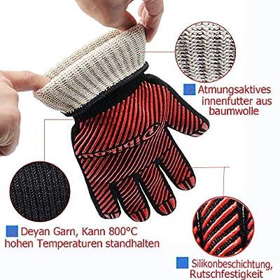 Verbeserte Grillhandschuhe Oftenhandschuhe, 800? überragende hitzebeständige Ofenhandschuhe zum Grillen, Grillen, Kochen, Braten,Backen mit Anti-Rutsch-Design für Hände und Unterarmschutz