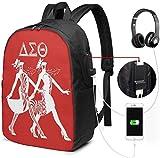 gshihuainingxianruanlius Zaino da 17 Pollici con Porta USB Borsa per Escursionismo da Viaggio per Uomo e Donna Delta sig-ma Theta Business School