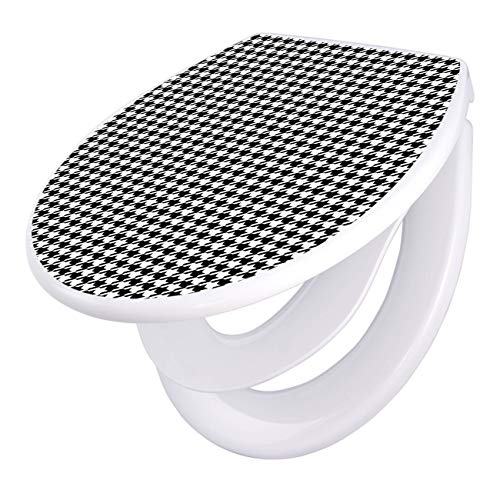 Hahnentritt-bad (banjado Familien WC Sitz mit Absenkautomatik | Toilettendeckel mit Kindersitz | Klodeckel weiß | Toilettensitz mit Soft Close | 44 x 37 cm WC Deckel mit Motiv Hahnentritt)
