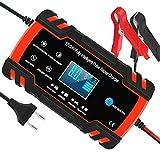 Chargeur de Batterie pour Voiture et Moto Intelligent 8A 12V/24V, Mainteneur de Chargeur Batterie Voiture, 3 Étapes de Chargeur Batterie et Automatique Réparation Fonction Camion, AGM, GEL, WET, SLA...
