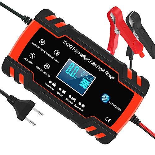 Chargeur de Batterie pour Voiture et Moto Intelligent 8A 12V/24V, Mainteneur de Chargeur Batterie Voiture, 3 Étapes de Chargeur Batterie et Automatique Réparation Fonction Camion, AGM, GEL, WET, SLA