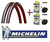 Michelin Dynamic 700X23 Reifenmantel, mit Luftschlauch, 2 Stück, Farbe wählbar rot