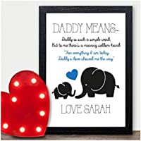 FATHER CHRISTMAS GIFTS - Xmas Presents Dad Daddy - PERSONALISED Disney Gifts - PERSONALISED with ANY NAME and ANY RECIPIENT - Black or White Framed A5, A4, A3 Prints or 18mm Wooden Blocks