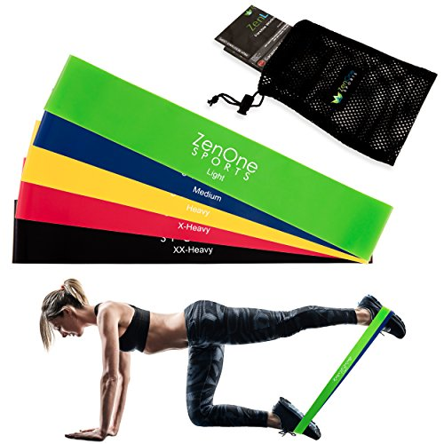 Fitnessbänder Set I 5 Trainingsbänder ZenLoops inkl. Gratis E-Book, Workout-Guide & Tasche I Das Premium Dehnband Resistance Band Set für effektives Training Zuhause (Maximale Wirkung-premium)