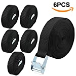 A+Selected 25mm x 5m Lashing Straps - 6 Pack Trailer Tie Down Straps Car Roof Rack Straps with Cam Buckle - Black Heavy Duty Tensioning Belt Holding Down Straps - Truck Hold 500lbs