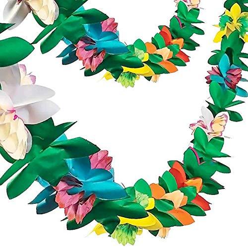 HAKACC 2.5 M Lange Kunststoff bunt Blume Dekoration, Tropische Garland Blume Banner für Haiwaii Luau Party Partydekorationen - Hohe Konzept Kostüm