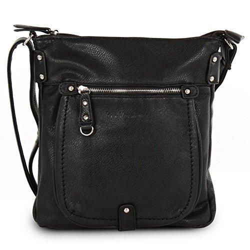 Jennifer Jones Umhängetasche schwarz Leder-Damenhandtasche mit Fee-Anhänger OTJ110S (London-hunter Leder Schwarz)