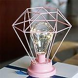 Schmiedeeisen Geometrische Usb Lampe Dekoration Kreative Metall Kerzenhalter Retro Beleuchtung Led Desktop Diy Home Puppe Dekoration Handwerk Rosa 21 * 18 * 26 Cm