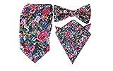 HYSENM Herren Krawatte Fliegen Einstecktuch schmal Blumen Baumwolle für Business Hochzeit Party Set, Blumen 17