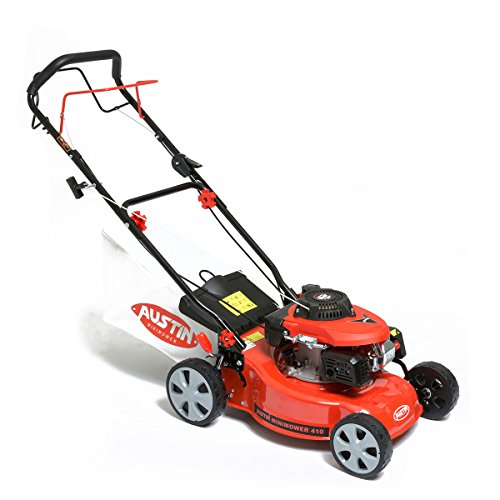 BMC Austin MiniMower 16″ 3HP 99cc Self Propelled Recoil Start 4 Stroke Petrol Lawn Mower with 7 Cutting Heights, Single Lever Height Adjustment, 45 Litre Collection Bag & Drive Speed Control – 2 Years Warranty