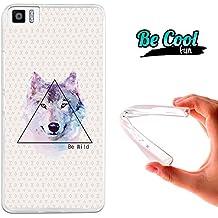 """Becool® Fun - Funda Gel Flexible Bq Aquaris M4.5 Dibujo Lobo """"Be Wild"""".Carcasa TPU fabricada con la mejor Silicona, protege y se adapta a la perfección a tu Smartphone y con nuestro diseño exclusivo Dibujo"""