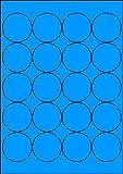 100 Etiketten Farbetiketten selbstklebend rund 50 mm BLAU permanent klebend auf Bogen A4 (5 Bögen x 20 Etik.)