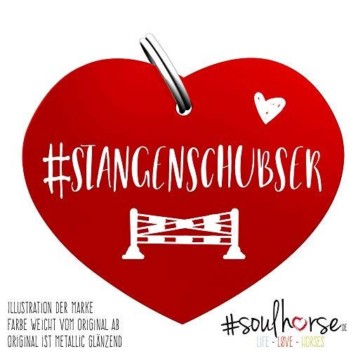 Soulhorse Marke Stangenschubser rot - Glücksbringer für Pferde, Hundemarke - Glücksmarke für Sattel, Halfter & Trense