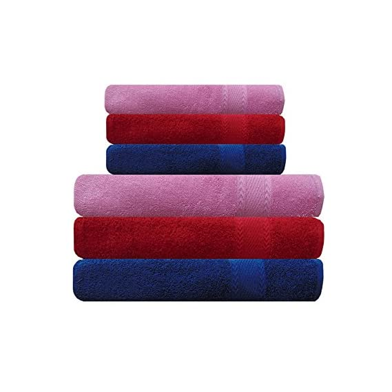Akin Towel Cotton 3 Bath and 3 Hand Towels (Multicolour) - Set of 6