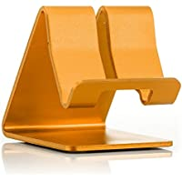 Saxonia Supporto in Alluminio Stand da tavolo Holder per Smartphone Tablet ebook Reader Oro